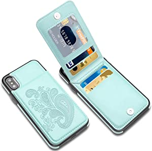 LakiBeibi iPhone X Case with Card Holders, Flower Series Slim PU Leather iPhone X Wallet Case for Girls Women Full Body Protective Case with Screen Protector for iPhone X/iPhone Xs 5.8 Inches, Mint