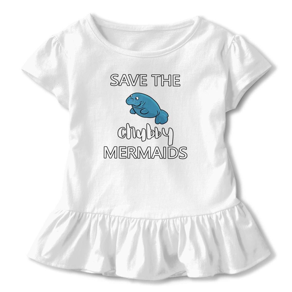 Save The Chubby Mermaid Manatee Toddler Baby Girls Cotton Ruffle Short Sleeve Top Soft T-Shirt 2-6T