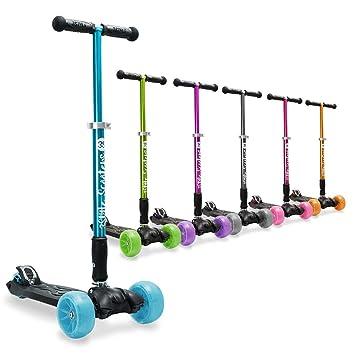 3StyleScooters® RGS-3 Patinete de 3 ruedas - Perfecto para niños de 7 años o más - Ruedas iluminadas, diseño plegable y manillar de altura ajustable
