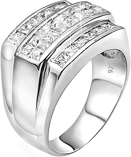Men/'s Sterling Silver Square Ring w// 204 Micro Pave Set CZ Stones