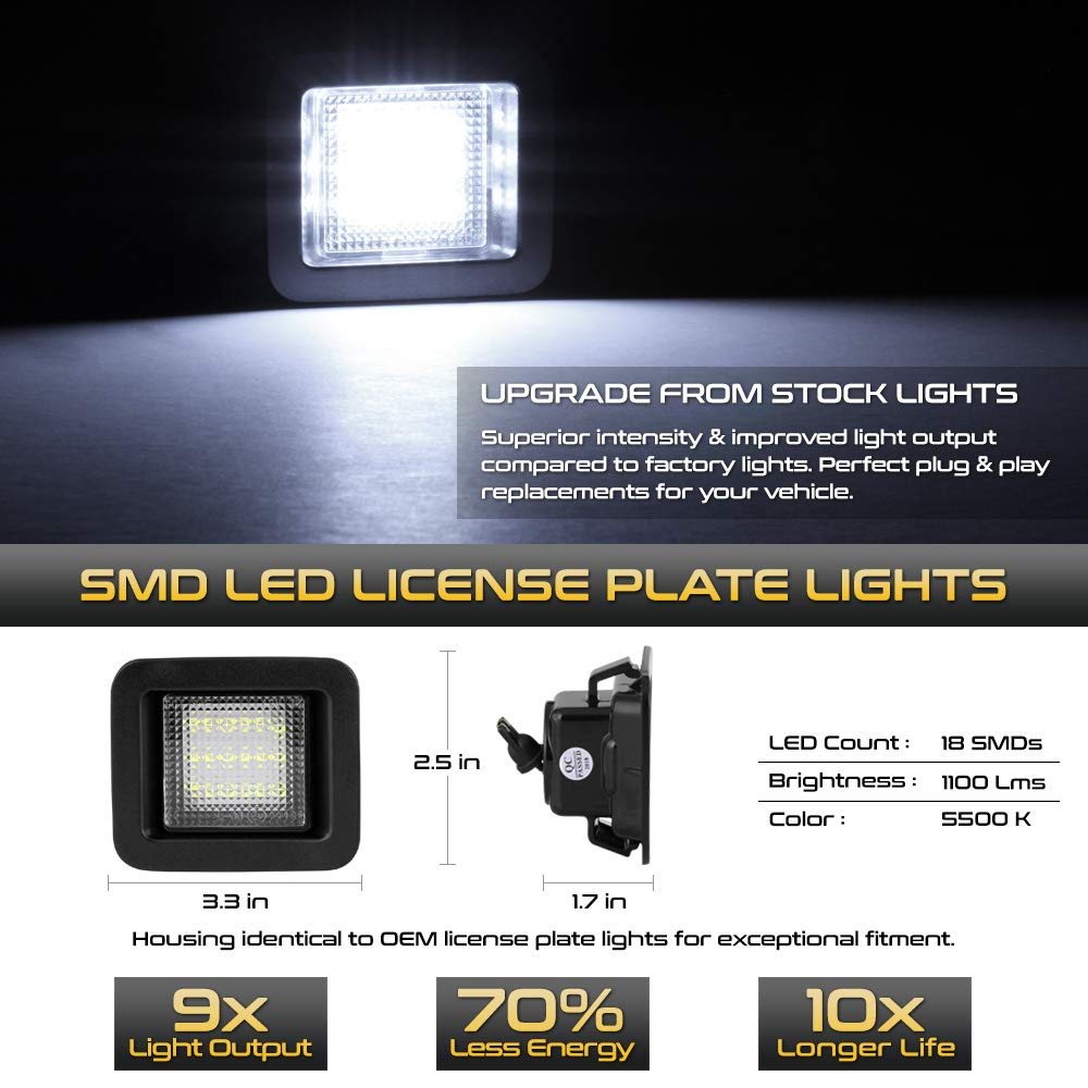 2-Piece Set 6000K Diamond White VIPMOTOZ Full LED License Plate Light Tag Lamp Assembly Replacement Pair For 2015-2019 Ford F-150 Pickup Truck