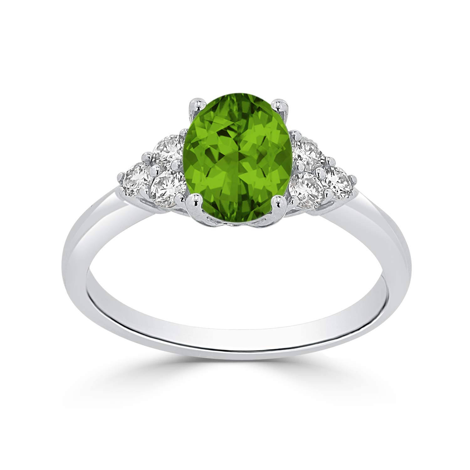 Diamond Wish 14k White Gold Diamond Engagement Ring with 1 ct Oval-Cut Peridot Gemstone and 1/4 ct TDW, Size 5 by Diamond Wish