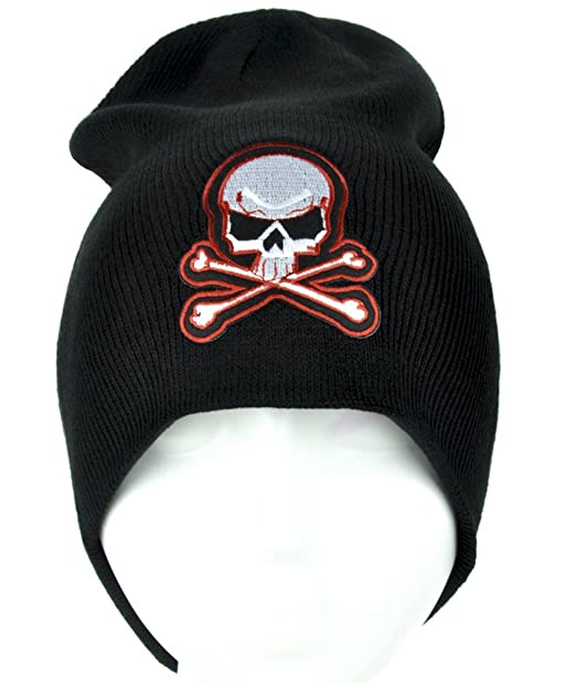 Image Unavailable. Image not available for. Color  Skater Skull and Crossbones  Beanie Knit Cap ... d98b57a7053