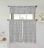 Vera Neumann Oralie Floral Trellis Printed Kitchen Tier & Valance Set | Small Window Curtain for Cafe, Bath, Laundry, Bedroom, Black