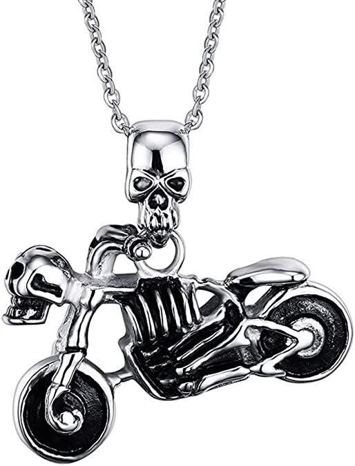 Grenf/® Fashion 2016 Various Birthday Gift Stainless Steel Rock Style Punk Skeleton Head Necklace Skull Ghost Rider Necklace Wolf Head and Lion Head Pendant