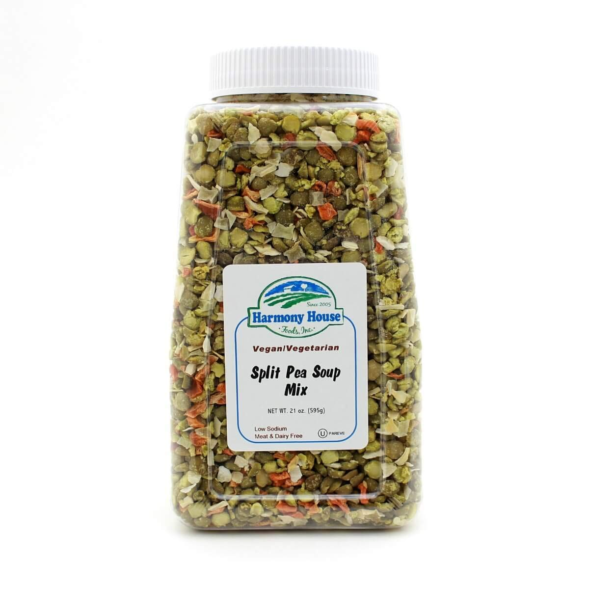 Harmony House Foods Split Pea Soup Mix - Air Dried Vegetables, Vegetarian, Vegan, Non-GMO, Great for Camping, Survival, Hiking, and Backpacking, 21 Ounce Jar