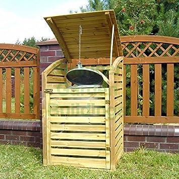 De madera rejilla de jardín para cubos de basura Store - madera tratada a presión, tapa abatible: Amazon.es: Jardín