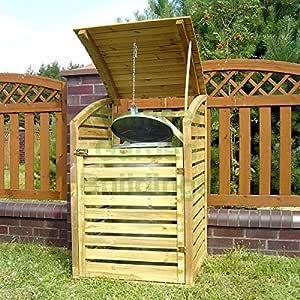 De madera rejilla de jardín para cubos de basura Store – madera tratada a presión, tapa abatible: Amazon.es: Jardín