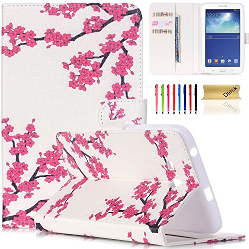 T110 Case, Dteck(TM) Elegant Cute Nice Folio PU Leather Wallet Case with Cards & Money Slots Stand Protective Case Cover for Samsung Galaxy Tab 3 Lite T110 7 inch Tablet (01 Peach Blossom) (01 Peach Blossom)