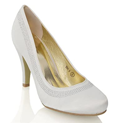 ESSEX GLAM Womens Mid Low Heel Party Ivory Satin Evening Court Shoes 10 B(M