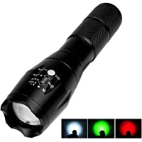 Allnice Portable Ultra Bright Handheld LED Flashlight Zoomable Scalable T6 Flashlight - Adjustable Focus, RGB 3 Colors Light and 5 Light Modes, Outdoor Water Resistant Torch(Red+Green+White light)