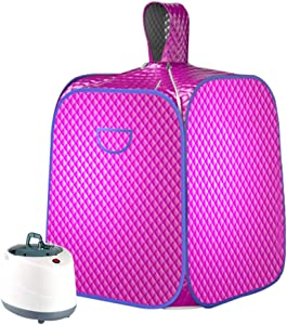 SEAAN Portable Personal Steam Sauna Spa Tent Full Body Home Sauna Therapeutic for Weight Loss, Detox, Slimming, W/ 2L Steam Pot Remote Control,1000W,10-60 Minute, with 9 Temperature Levels