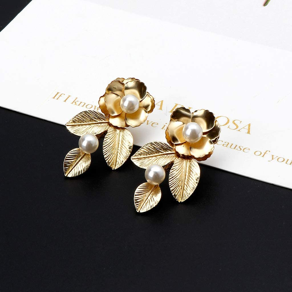 Jiandan De Luxe Or Ton Baroque Perle Feuille Fleur Royal Boucles Doreilles De Mariage Bijoux De Mari/ée