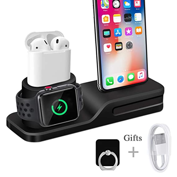 the best attitude dabb7 50491 Wonsidary Apple Watch Stand, 3 in 1 Universal Silicone  iWatch/iPhone/Airpods Holder Charging Docks Station for Apple Watch Series  3 2 1 AirPods iPhone ...