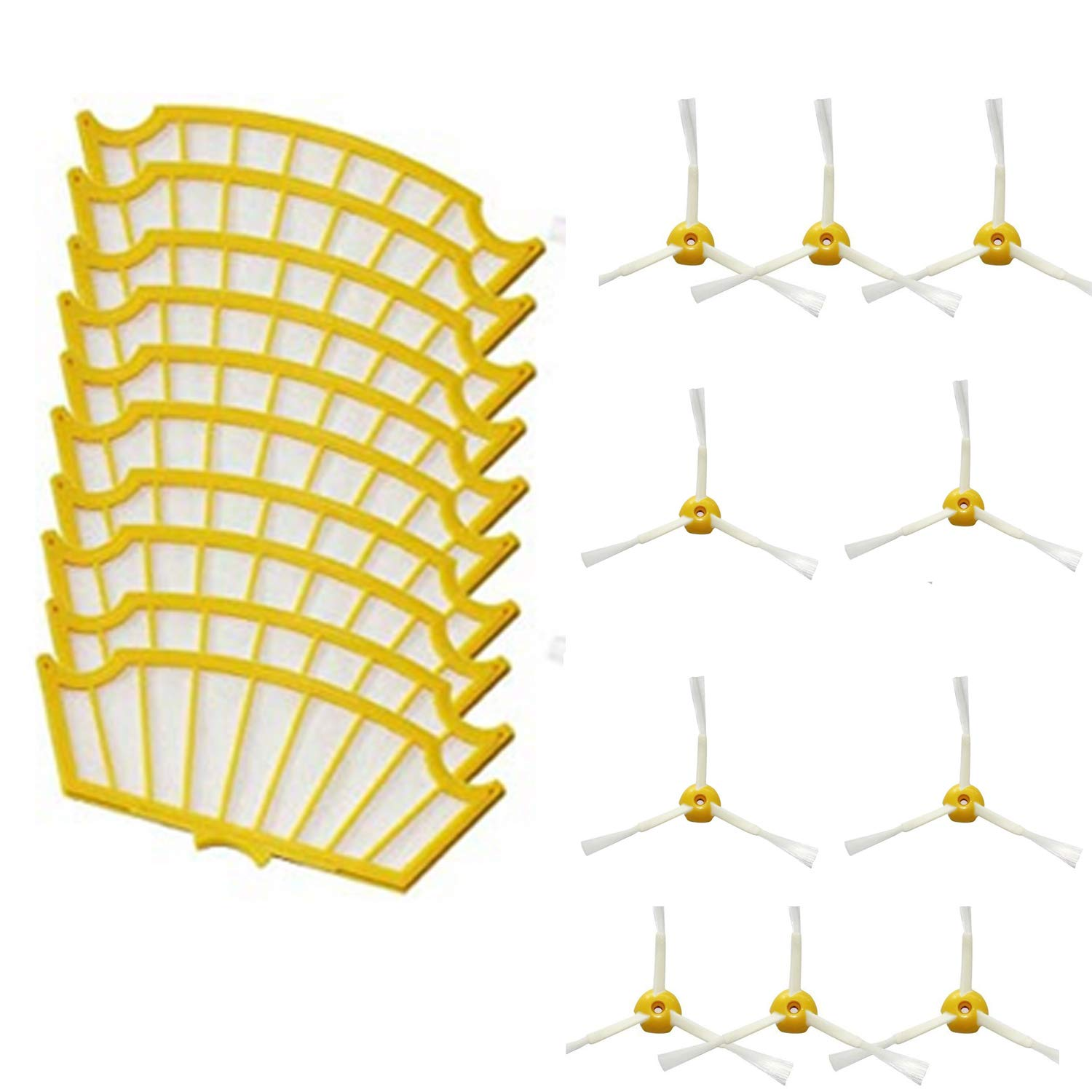 20pcs Filters Spare Kit Includes 10 Side Brushes and 10 Filters Accessory Kit for iRobot Roomba 500 Series Vacuum Cleaner
