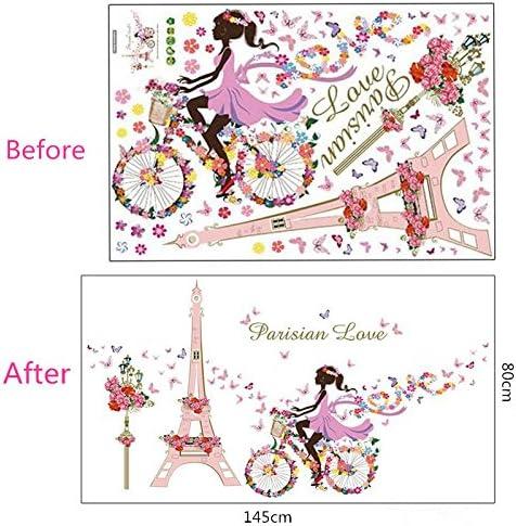 MiYan Romantique Paris Tour Eiffel Fleur Amour Sticker Mural Art Stickers D/écoration de Chambre panoramique