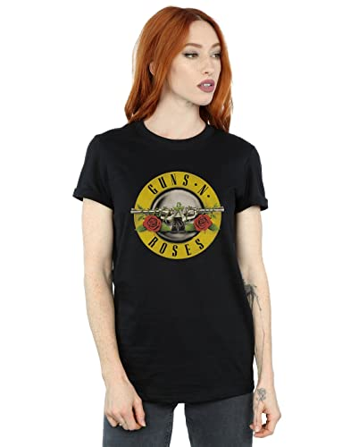 Guns N Roses Donna Bullet Logo Boyfriend T-Shirt Fit Large Nero