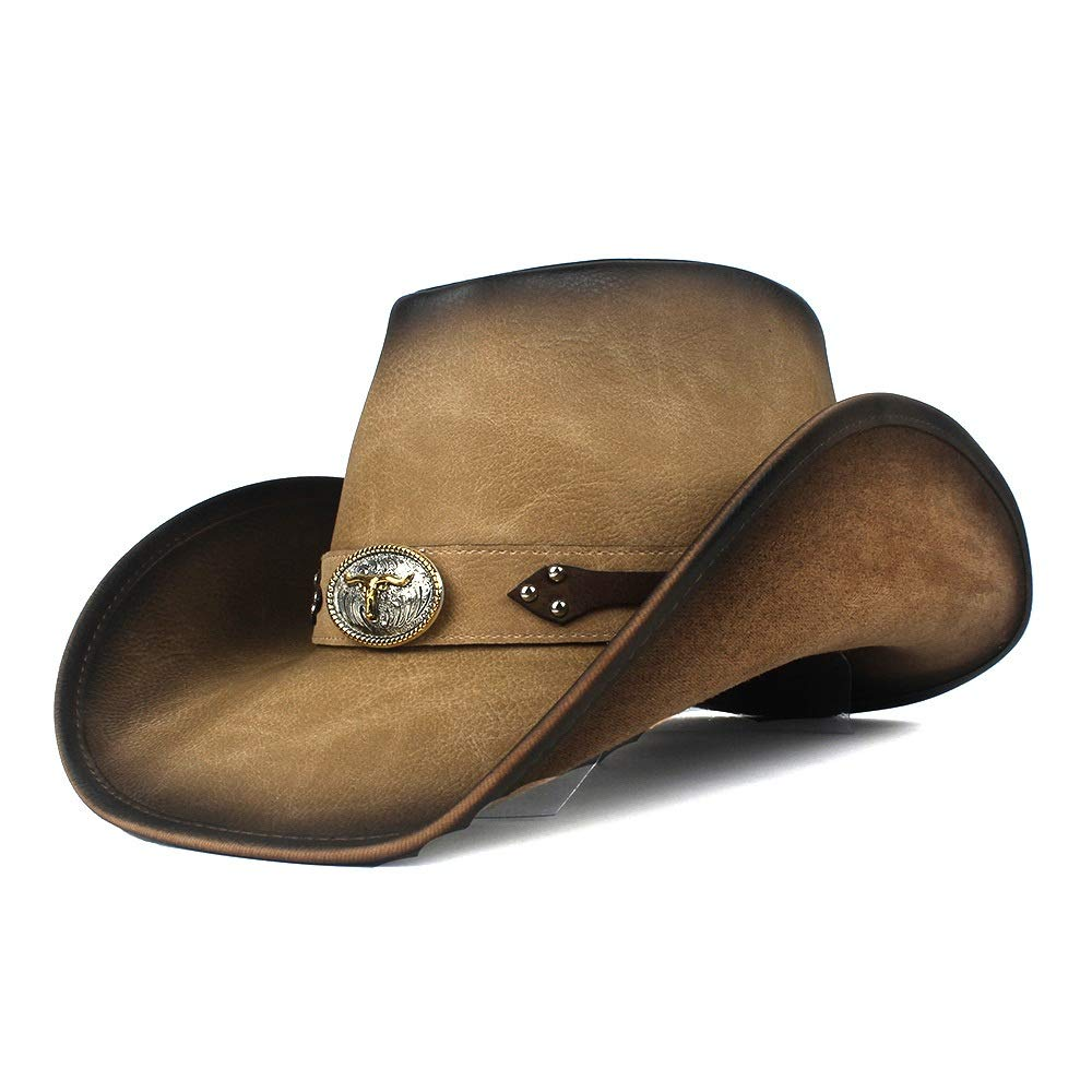 MUMUWU Women Men Western Cowboy Hat Fashion Leather Gentleman Fedora Hat Roll Up Brim Sombrero Hombre Jazz Caps (Color : Dark Khaki, Size : 58-59)