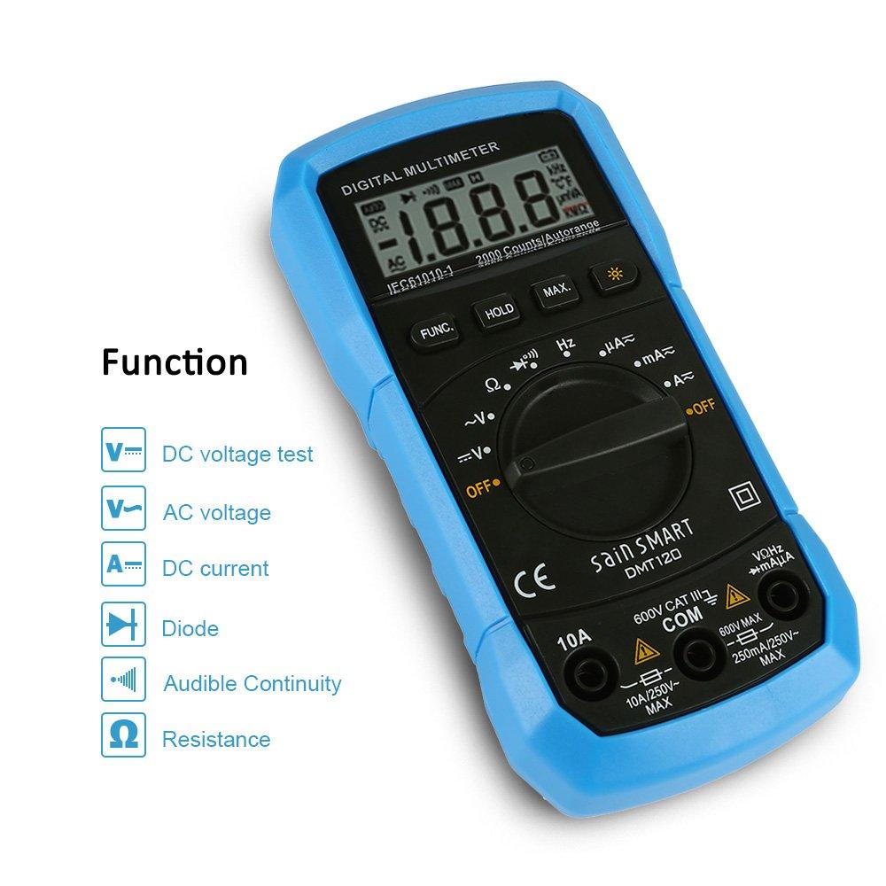 SainSmart dmt120 multimetro digitale, MS8233D AC/DC Tensione Corrente Resistenza Tester voltmetro Ohm Meter con retroilluminazione LCD