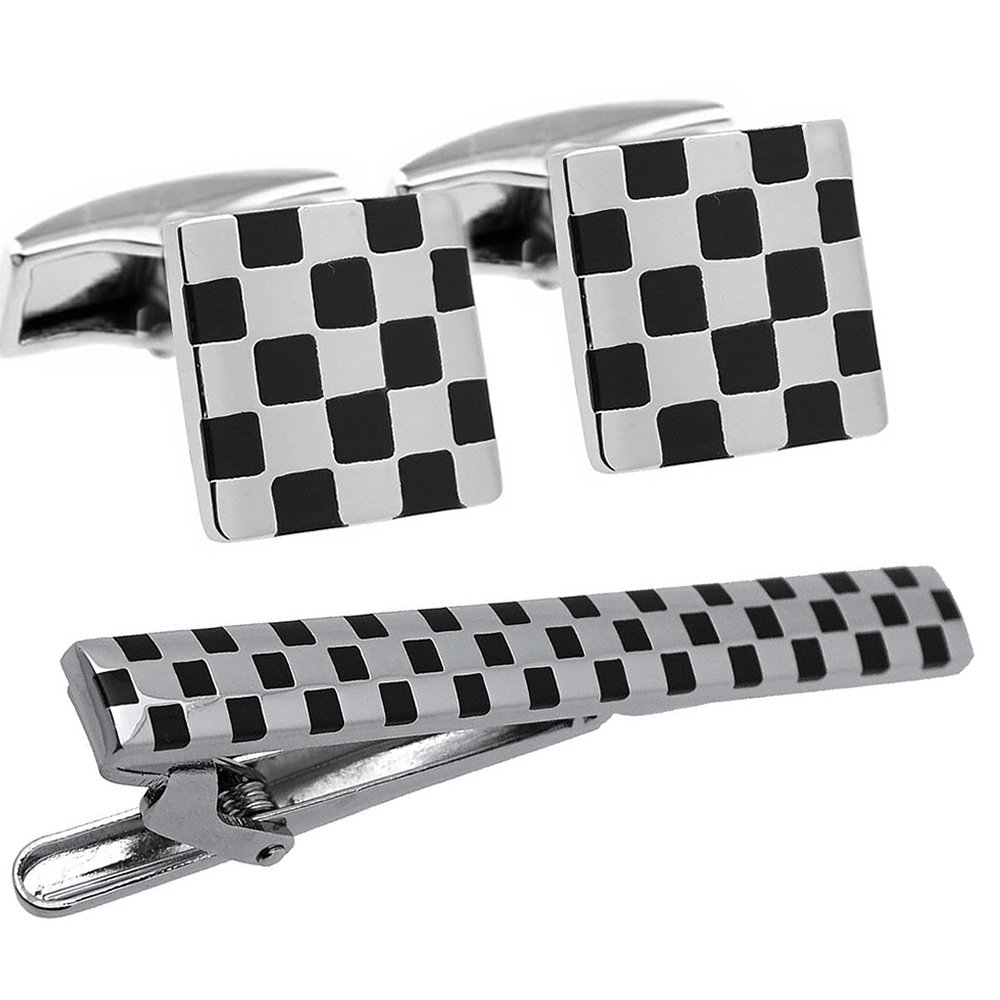 Black and Silver Check Cufflinks and Tie Clip Set
