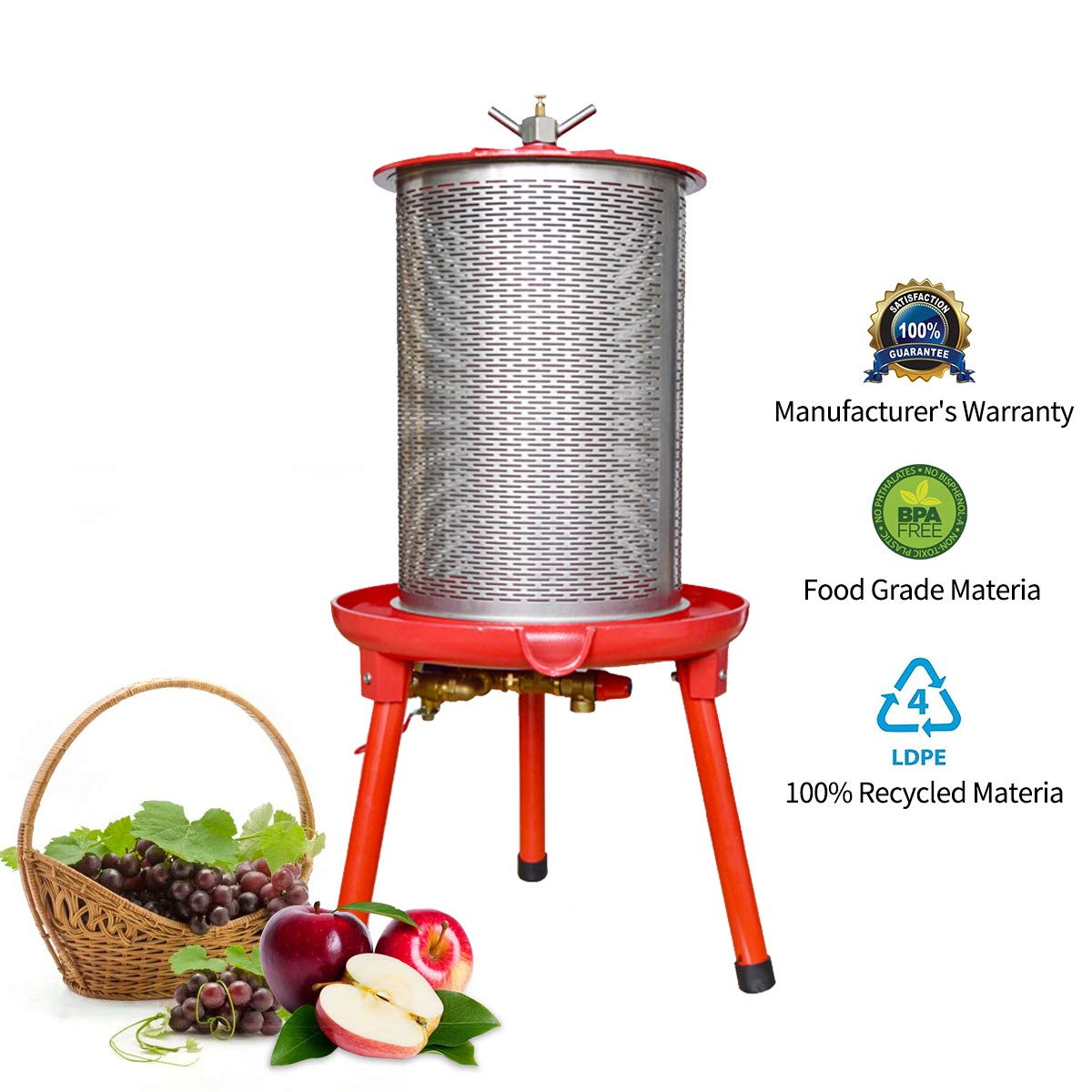 Hydraulic Fruit Wine Press - Electricity-Free/Water-powered Cider Wine Bladder Press, Natural Juice Making(5.3 Gallon, with Filter Bag/Splash Guard) by EJWOX
