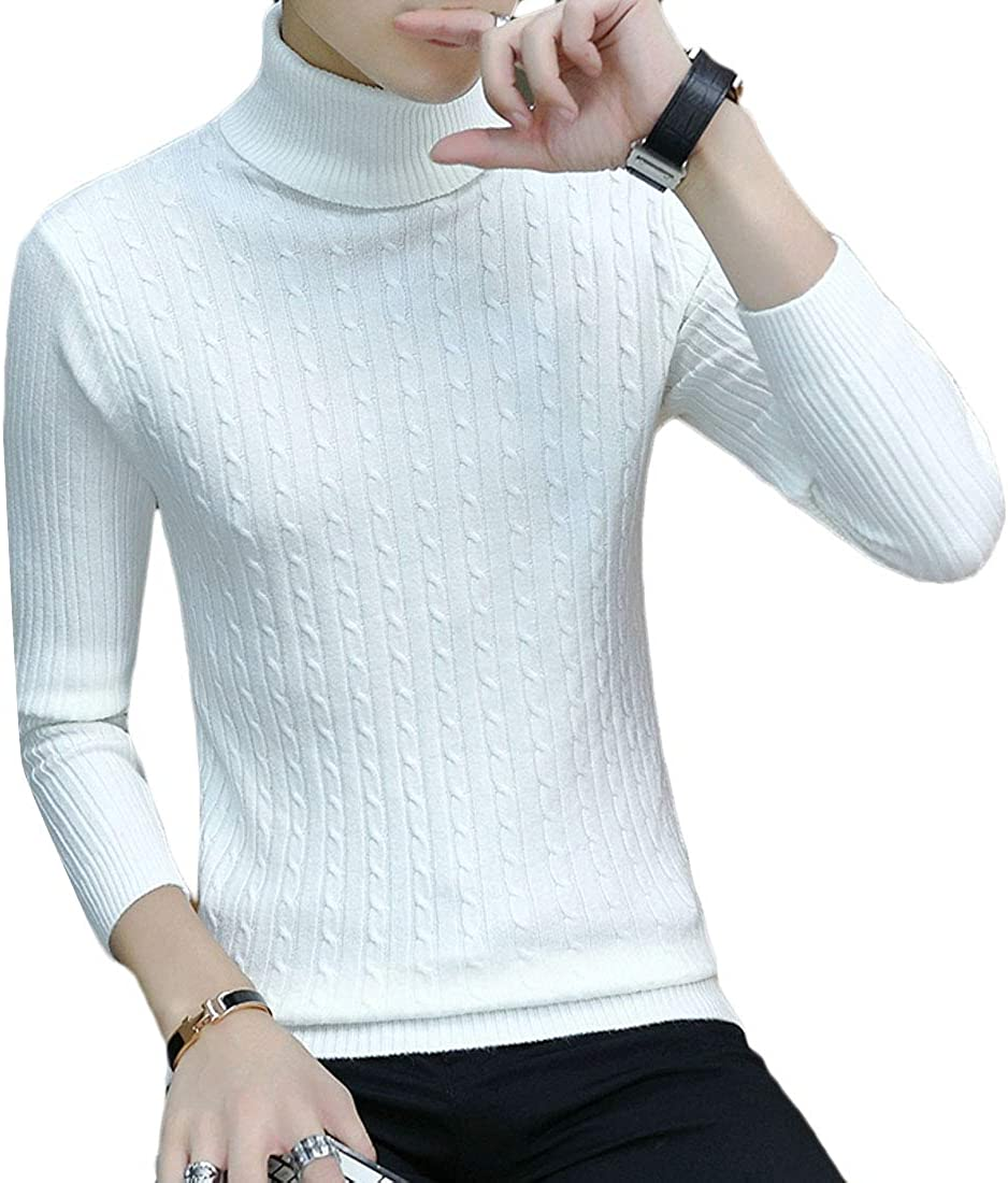 Etecredpow Mens Thermal Turtle Neck Winter Casual Pullover Knitwear Sweater