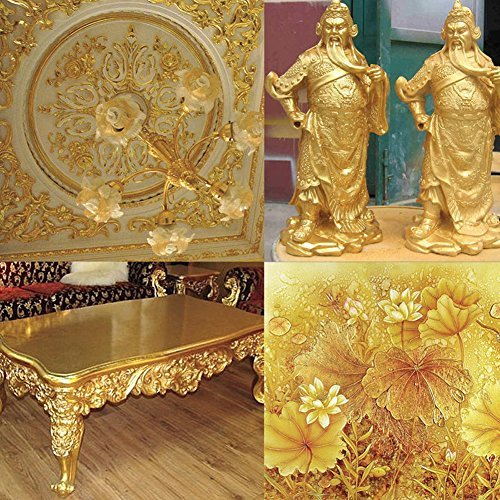 Whitelotous 100pcs/set Gold Leaf Gilding Foil Gilding Sheets for Art Craft Decor (Gold)