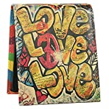 Wallet for Men - Genuine Printed Leather Bifold Sytlish Wallet with 2 ID Window - Victory Day Kissing Love Peace Leather Mens Wallet