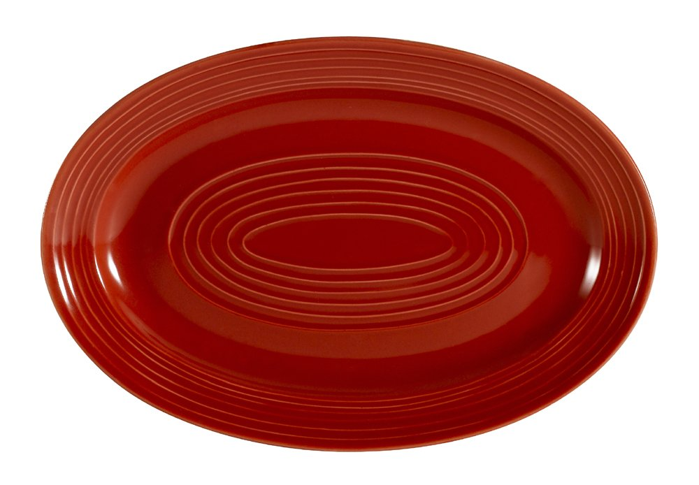 CAC China TG-34R Tango Red Porcelain Oval Platter, 9-5/8-Inch by 6-1/2-Inch, Box of 24