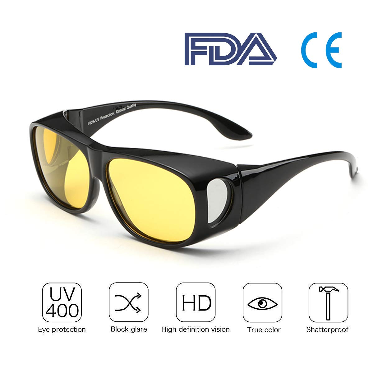 Best Night Driving Over anteojos de sol – para hombres y mujeres/Wrap Around Prescription Eyewear/Polarized Yellow Lens/Anti-Glare UV 400 Protección/Envoltorio de regalo