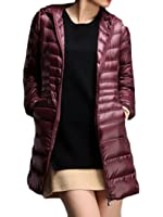 Gnao Women Winter Ultra Light Weight Package Outdoor Hooded Long Down Coat