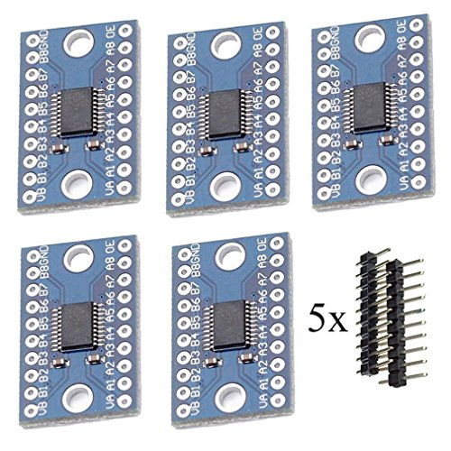 HiLetgo 5pcs TXS0108E High Speed Full Duplex 8 Way 8 Channel Level Conversion Module 8-Bit 8 CH Logic Level Bi-Directional Converter Module