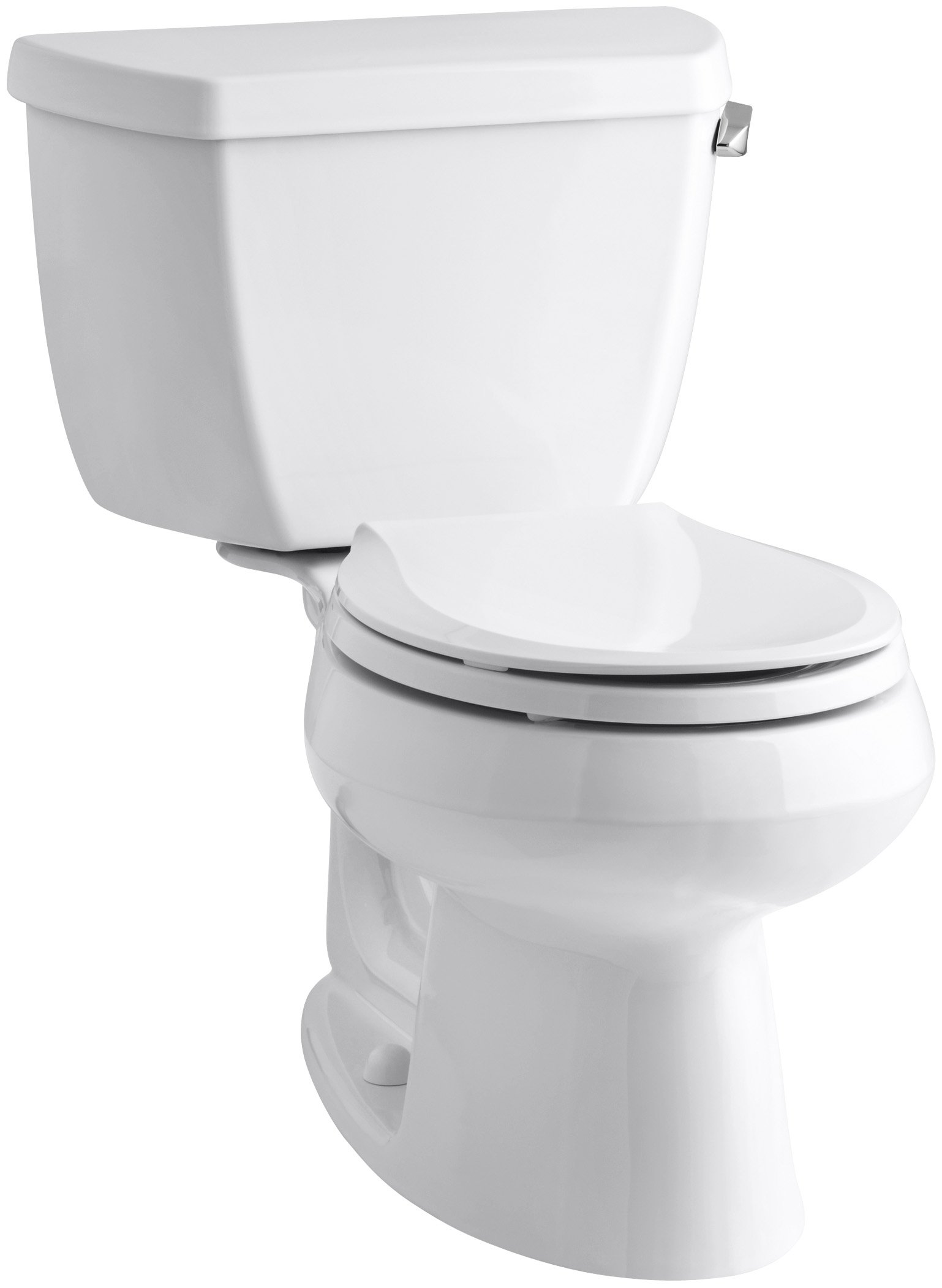 Kohler K-3577-RA-0 Wellworth Classic 1.28gpf Round-Front Toilet with Class Five Flushing Technology and Right-Hand Trip Lever, White, 12 Inch, by Kohler