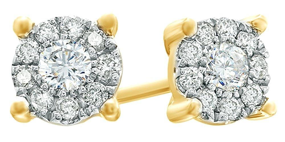 Ohrstecker Weißszlig;Gold 14 Karat (585) massives Weißszlig;Gold 0,25 Karat Diamant Weißszlig; 14 Karat (585) GelbGold