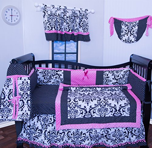 Beautifull 12 Pcs Crib Bedding Nursery set Pink Black Damask bumper included soft and cute