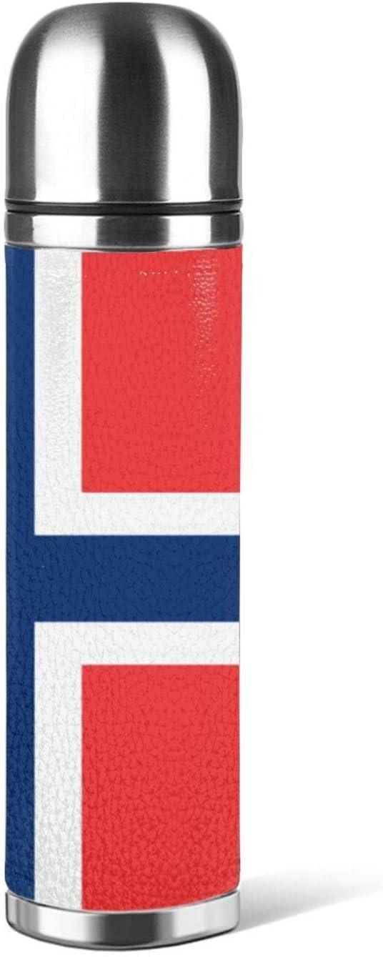 Botella de agua de acero inoxidable bandera de Noruega aislado de cuero al vacío prueba de fugas doble pared envase embalaje termo 500 ml