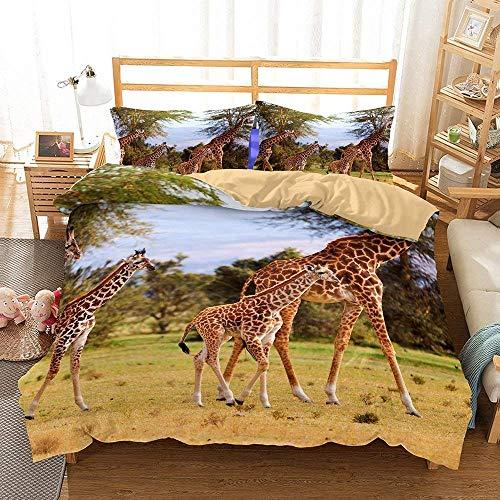 CHENGXIN Giraffe Series 3D Bedding Set Print Duvet Cover Set Lifelike Bed Sheet (2, Queen)
