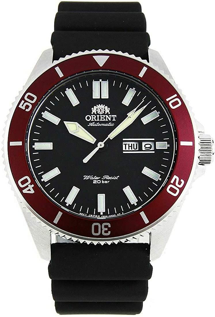 Orient RA-AA0011B Men s Kano Silicone Band Red Bezel Black Dial Automatic Dive Watch