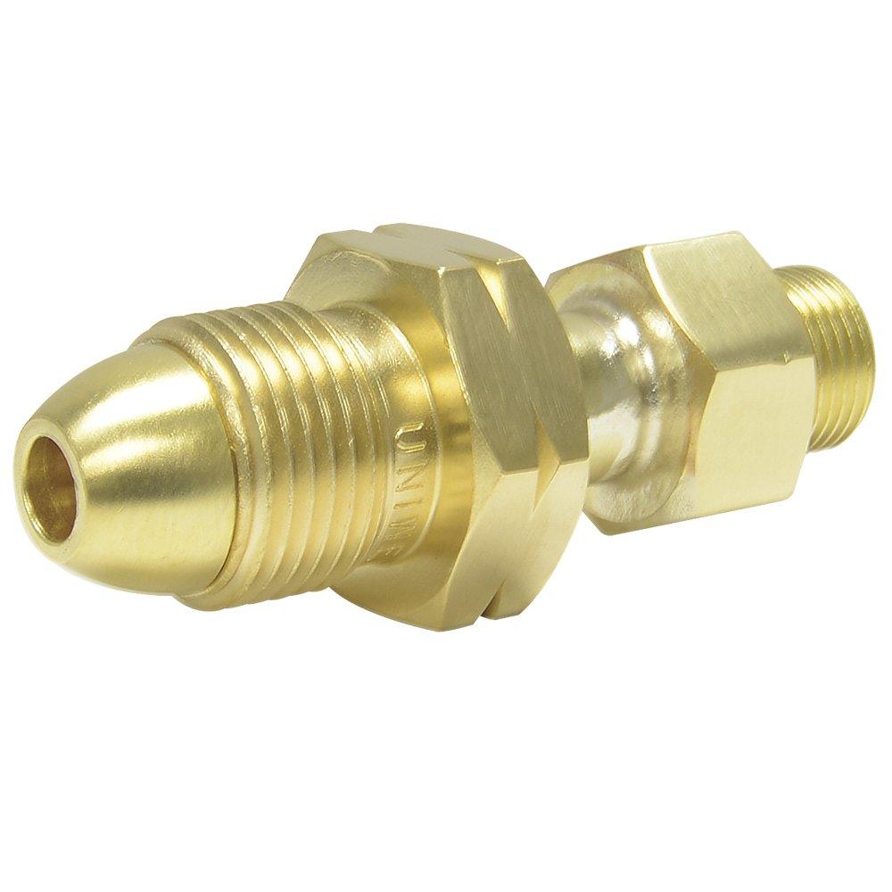 "Uniweld F37 Brass Adaptor from CGA510""POL"" Tank to CGA200""MC"" Regulator"