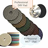4-Inch Diamond DRY Polishing Pad & Sponge Fiber Abrasive Pad 30 Pieces FREE 4'' Aluminum Backer Granite Marble Glass Terrazzo Finishing Buffing Countertop Edge Floor Tile sharp