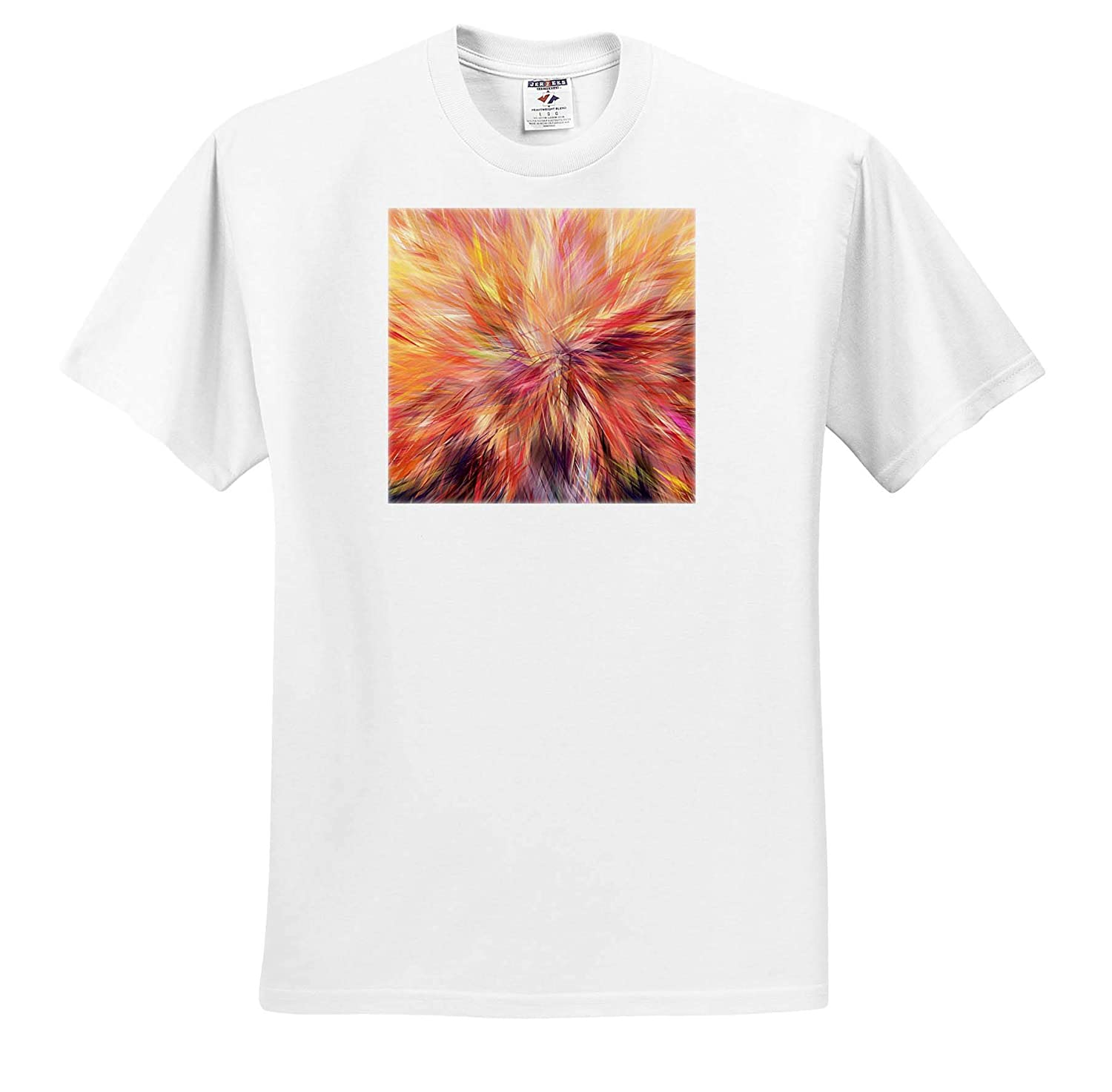 3dRose Lens Art by Florene T-Shirts Geometric Abstract Image of Yellow Fuchsia and Purple Feather Painting