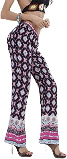 EnergyWD Women's Printing Ethnic Style Straight Leg High Waist Loose Fit Pants