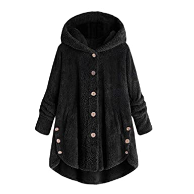 7ab508144 Women Button Coat Ladies Long Sleeve Solid Color Button Fluffy Tops ...