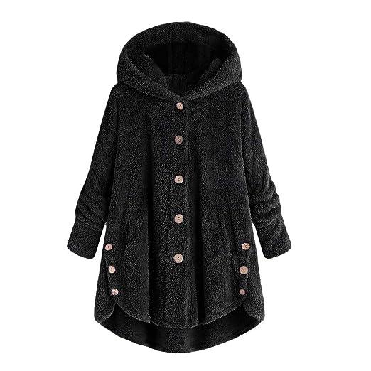 53edf02bff Clearance Sale Fluffy Fleece Winter Coat Plus Size,Women Warm Button Parka  Hooded Pullover Sweater
