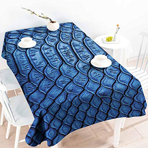 HRoomDecor Water Resistant Tablecloth,Animal Print Collection,Colored Snake Skin Pattern Alligator Fancy Luxury Leather Clothing Artwork,Blue 50