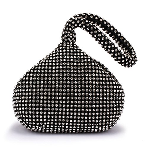 FZHLY Paquete De Banquete Creativo Diamond Evening Bag,Silver Black