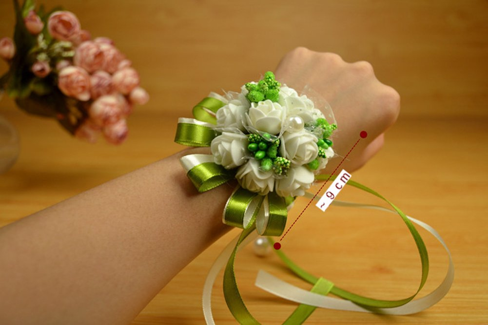 Toruiwa Blumenarmband Rose Blumen Armband Handgelenk Corsage Blumen