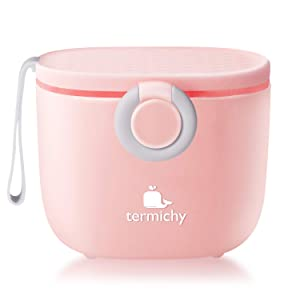 Termichy Baby Formula Dispenser, Portable Milk Powder Dispenser Container with Carry Handle and Scoop for Travel Outdoor Activities with Baby Infant, 500ml (Pink)