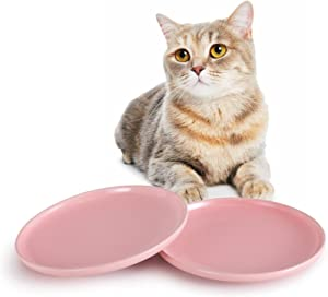 SIDUCAL Ceramic Shallow Cat Dish,8 Inch High-Capacity Non Slip Wide Cat Food Bowls,Whisker Fatigue Free Cat Food Dish,Cute Pet Plate for Cat,Dishwasher Safe(Pink-2 Packs)
