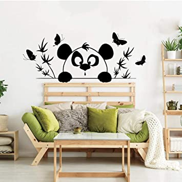 Pegatinas De Pared Murales De Dibujos Animados Panda árbol De Bambú Pegatinas De Pared Habitación De Los Niños Dormitorio Oso Oso Panda Bosque Mariposas Vinilo Vinilo Bebé Guardería Arte 33 5 X